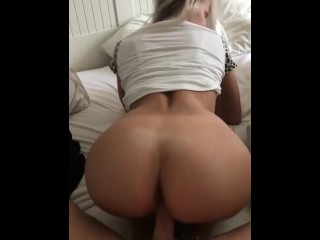 Lesbian blonde bent over fingering ass