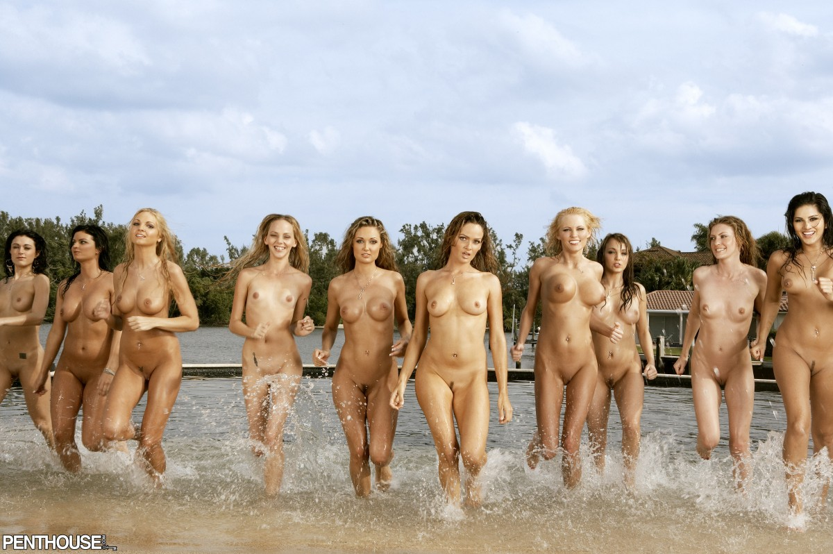Naked wet men and girls