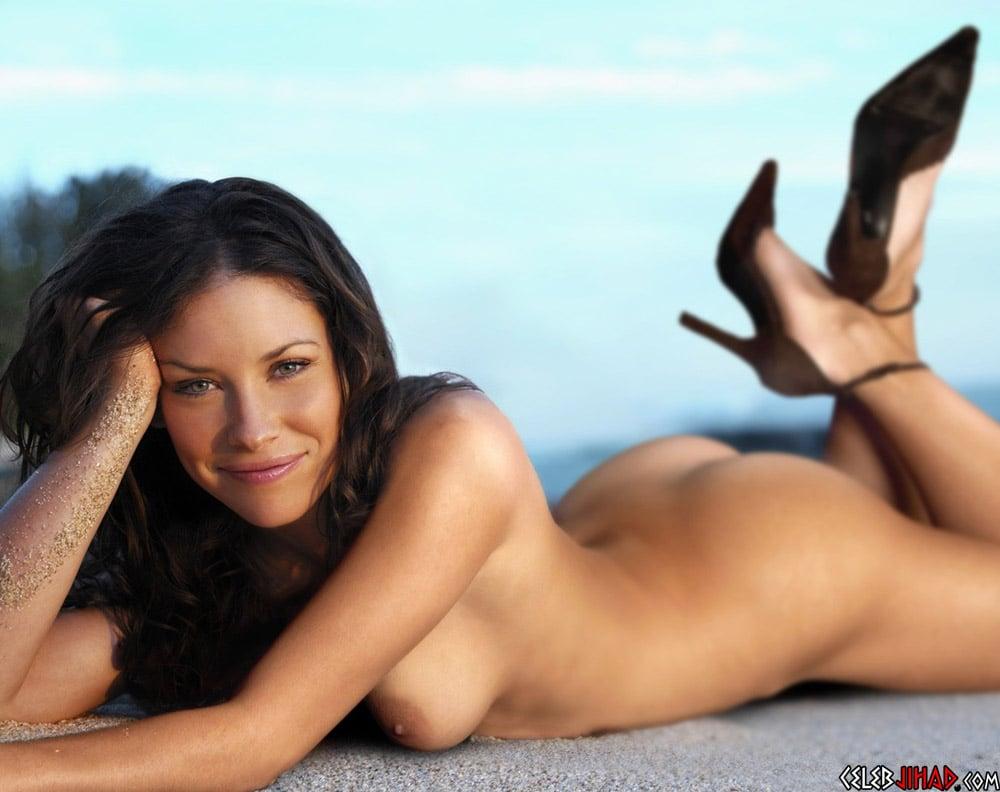 Woman nude legs behind head